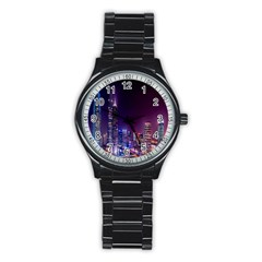 Raised Building Frame Stainless Steel Round Watch