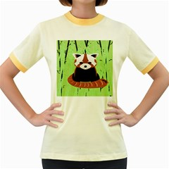 Red Panda Bamboo Firefox Animal Women s Fitted Ringer T-Shirts