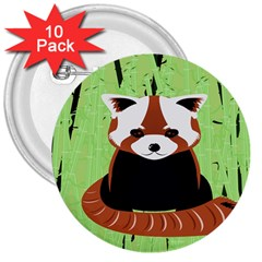 Red Panda Bamboo Firefox Animal 3  Buttons (10 pack)