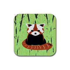 Red Panda Bamboo Firefox Animal Rubber Square Coaster (4 pack)