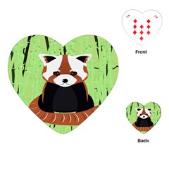 Red Panda Bamboo Firefox Animal Playing Cards (Heart)