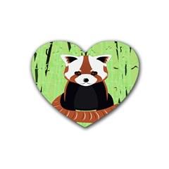 Red Panda Bamboo Firefox Animal Heart Coaster (4 Pack)