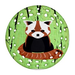 Red Panda Bamboo Firefox Animal Ornament (Round Filigree)