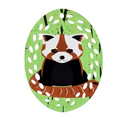 Red Panda Bamboo Firefox Animal Oval Filigree Ornament (Two Sides)