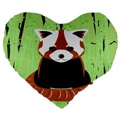 Red Panda Bamboo Firefox Animal Large 19  Premium Heart Shape Cushions