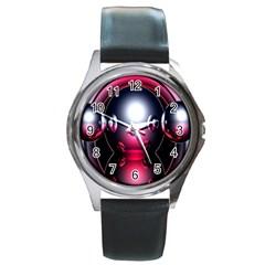 Red 3d  Computer Work Round Metal Watch
