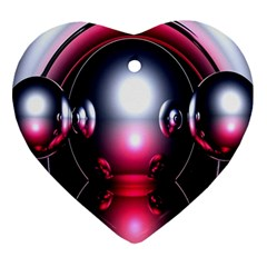 Red 3d  Computer Work Ornament (Heart)