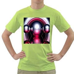 Red 3d  Computer Work Green T-Shirt