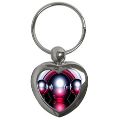 Red 3d  Computer Work Key Chains (heart)