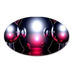 Red 3d  Computer Work Oval Magnet