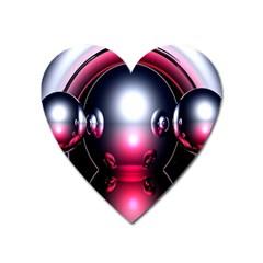Red 3d  Computer Work Heart Magnet