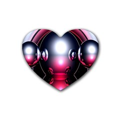 Red 3d  Computer Work Heart Coaster (4 pack)