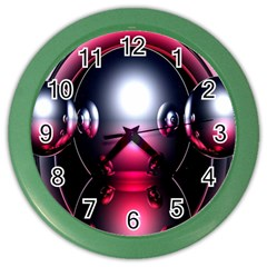 Red 3d  Computer Work Color Wall Clocks