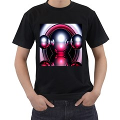 Red 3d  Computer Work Men s T-Shirt (Black)