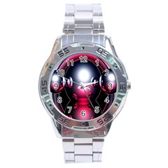 Red 3d  Computer Work Stainless Steel Analogue Watch