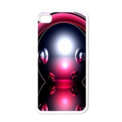 Red 3d  Computer Work Apple iPhone 4 Case (White)