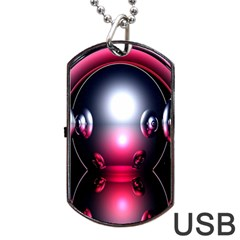 Red 3d  Computer Work Dog Tag USB Flash (One Side)