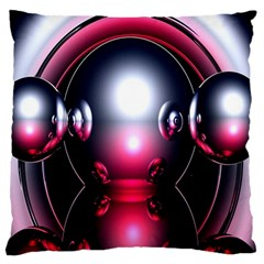 Red 3d  Computer Work Large Flano Cushion Case (One Side)
