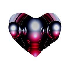 Red 3d  Computer Work Standard 16  Premium Flano Heart Shape Cushions
