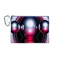 Red 3d  Computer Work Canvas Cosmetic Bag (M)