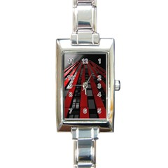 Red Building City Rectangle Italian Charm Watch