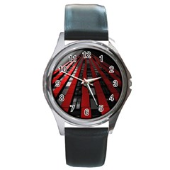Red Building City Round Metal Watch