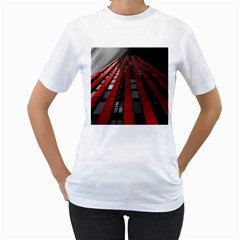 Red Building City Women s T-Shirt (White) (Two Sided)