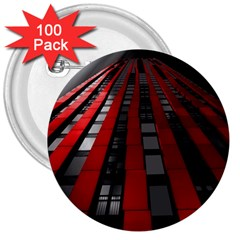 Red Building City 3  Buttons (100 pack)