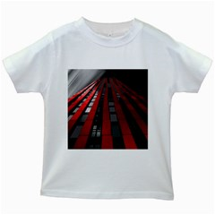 Red Building City Kids White T-Shirts
