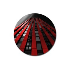 Red Building City Magnet 3  (round)