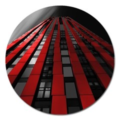 Red Building City Magnet 5  (Round)
