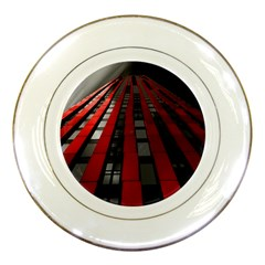 Red Building City Porcelain Plates
