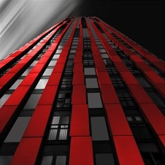 Red Building City Magic Photo Cubes