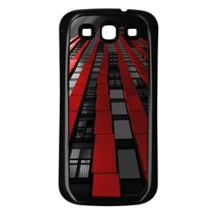 Red Building City Samsung Galaxy S3 Back Case (Black)