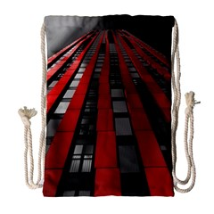 Red Building City Drawstring Bag (Large)