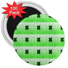 Shamrock Pattern Background 3  Magnets (100 pack)