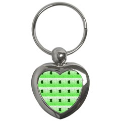 Shamrock Pattern Background Key Chains (Heart)
