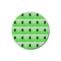 Shamrock Pattern Background Rubber Coaster (Round)