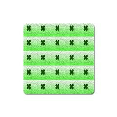 Shamrock Pattern Background Square Magnet