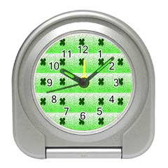 Shamrock Pattern Background Travel Alarm Clocks