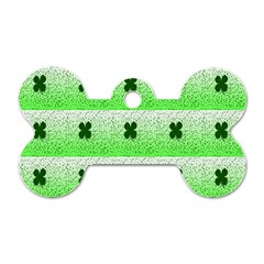 Shamrock Pattern Background Dog Tag Bone (One Side)
