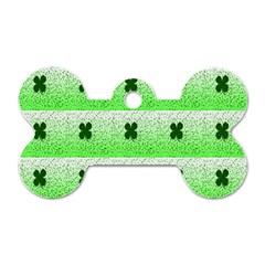 Shamrock Pattern Background Dog Tag Bone (Two Sides)
