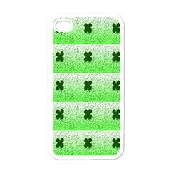 Shamrock Pattern Background Apple iPhone 4 Case (White)