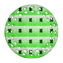 Shamrock Pattern Background Ornament (Round Filigree)