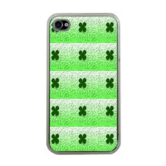 Shamrock Pattern Background Apple iPhone 4 Case (Clear)