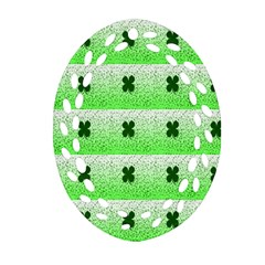 Shamrock Pattern Background Oval Filigree Ornament (Two Sides)