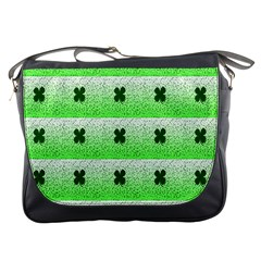 Shamrock Pattern Background Messenger Bags