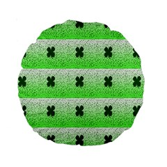 Shamrock Pattern Background Standard 15  Premium Round Cushions