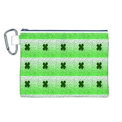 Shamrock Pattern Background Canvas Cosmetic Bag (L)
