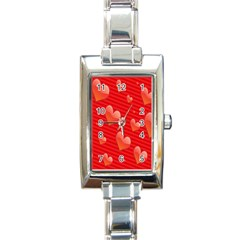 Red Hearts Rectangle Italian Charm Watch